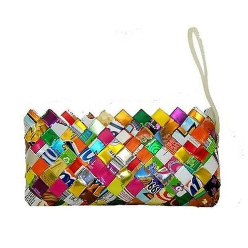 Recycled Foil Wrapper Clutch Bag with Wrist Strap Handmade and Fair Trade