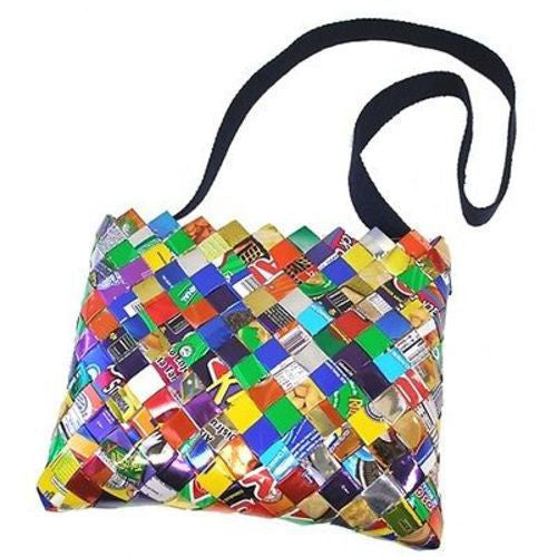 Foil Wrapper Shoulder Bag with Longer Dark Fabric Strap Handmade and Fair Trade
