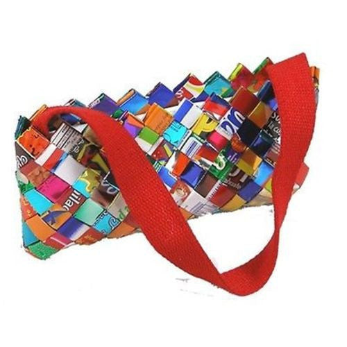 Foil Wrapper Clutch Bag with Red Fabric Strap Handmade and Fair Trade