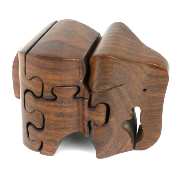 Handmade Carved Wooden 3D Elephant Puzzle Handmade and Fair Trade