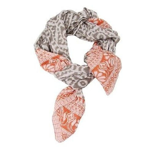 Handmade Ikat Floral Scarf - Orange & Gray Handmade and Fair Trade