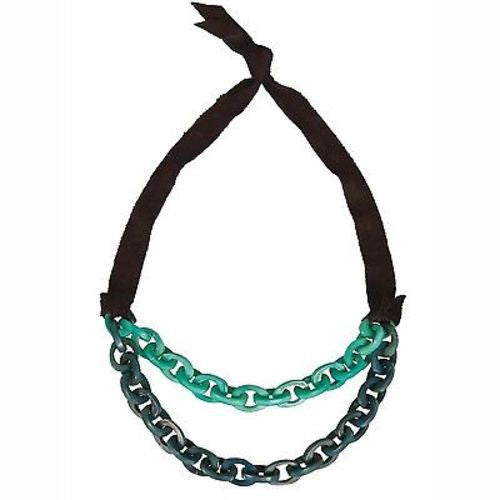 Dual Tagua Link Necklace in Aqua Handmade and Fair Trade