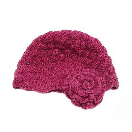 Mollie Flower Wool Cloche Hat in Berry Handmade and Fair Trade