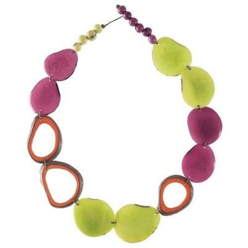 Ventana Tagua Necklace in Cherry Limeade Handmade and Fair Trade
