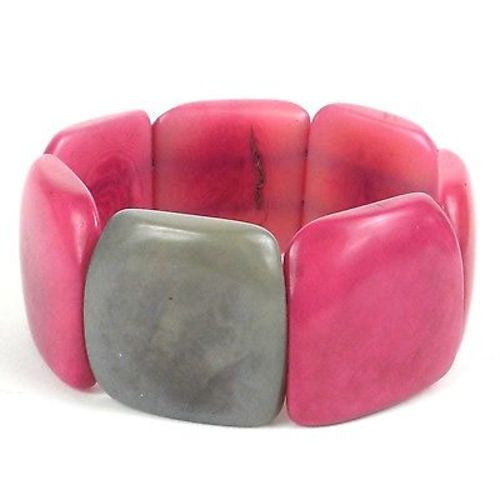 Accented Tagua Bracelet Berry with Periwinkle Handmade and Fair Trade