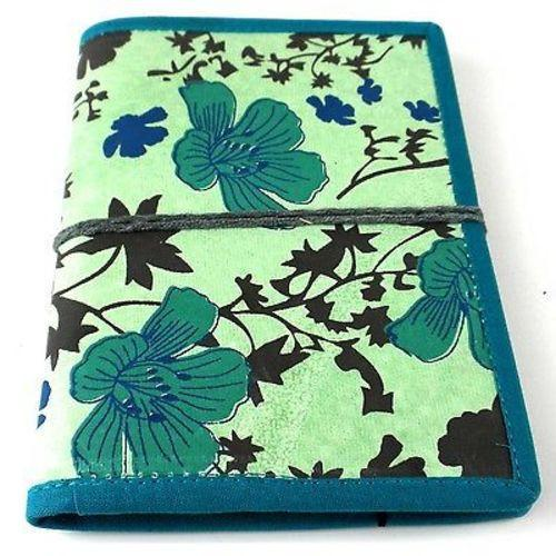 Spring Flower Journal with Blue Trim Handmade and Fair Trade