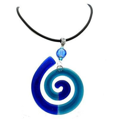 Giant Finite Swirl Glass Pendant Necklace Blue Handmade and Fair Trade