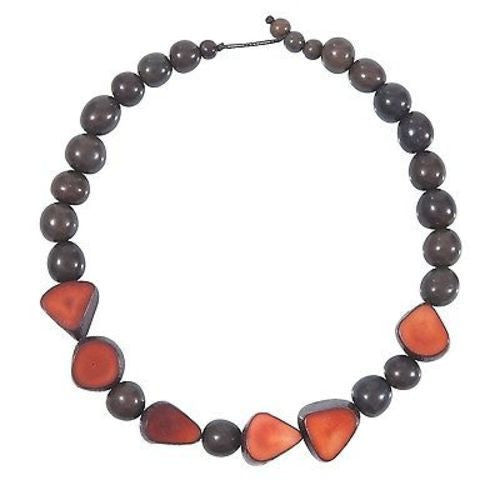 Gemma Tagua Necklace in Burgundy Handmade and Fair Trade