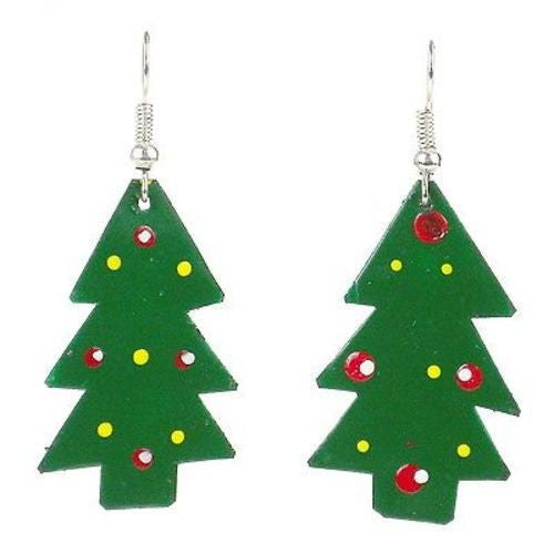 Painted Tin Christmas Tree Earrings Handmade and Fair Trade