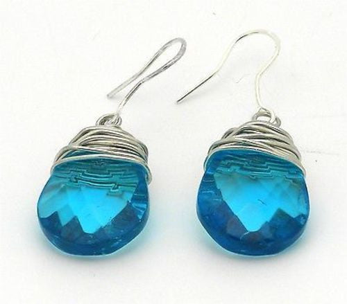 Silvertone Wrapped Raindrop Earrings Handmade and Fair Trade