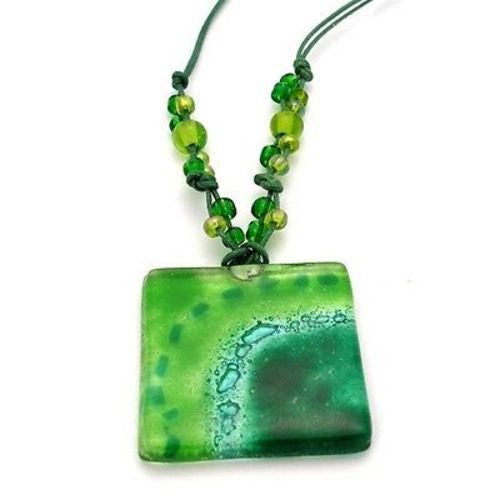 Emerald Sun Translucent Square Fused Glass Pendant Necklace Handmade and Fair Trade