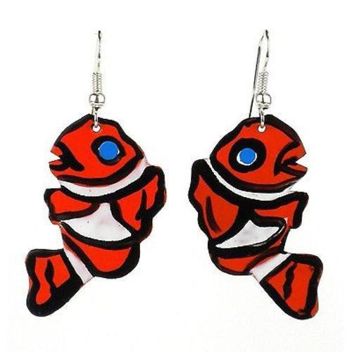 Painted Clown Fish Earrings Handmade and Fair Trade