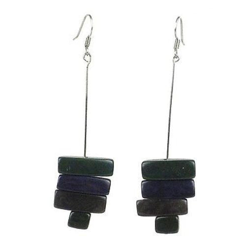 Rialto Tagua Nut Earrings in Hunter Green Handmade and Fair Trade