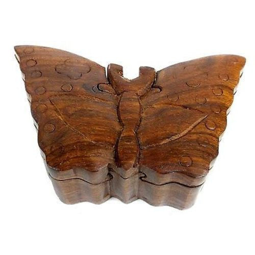 Handcrafted Sheesham Wood Butterfly Puzzle Box Handmade and Fair Trade