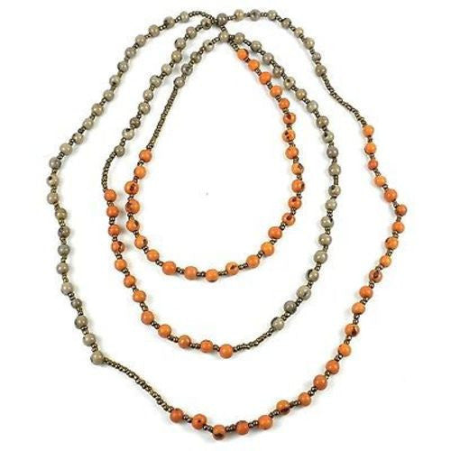 Colorblock Rope Necklace - Creamsicle and Gray Handmade and Fair Trade