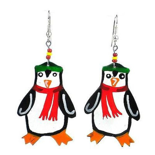 Painted Penguin Earrings Handmade and Fair Trade