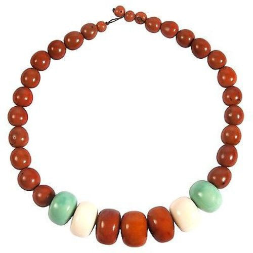 Tagua and Seed Manabi Necklace in Sunset Orange Handmade and Fair Trade