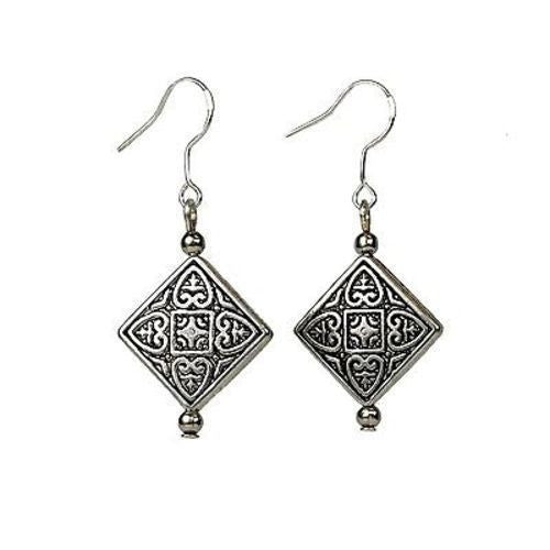 Tibetan Silver Overlay Symmetry Earrings Handmade and Fair Trade