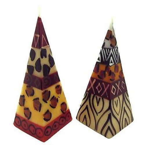 Set of Two Hand-Painted Pyramid Candles - Uzima Design Handmade and Fair Trade