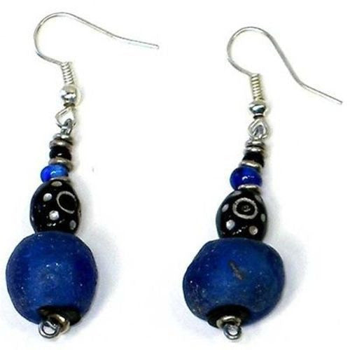 Handcrafted Vintage Blue Glass Bead Earrings - Kenya