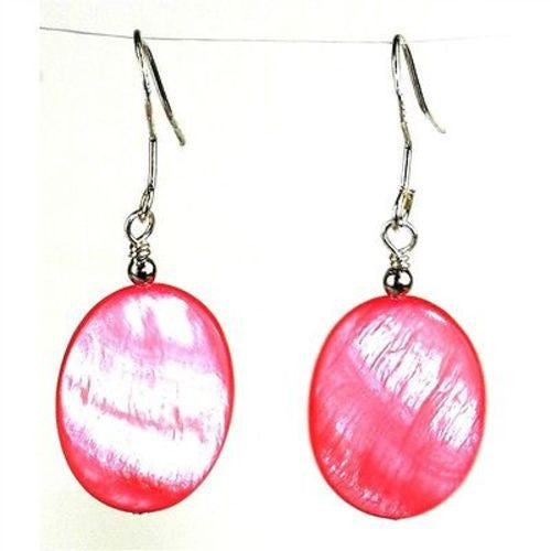 Pink Mother of Pearl Shell Oval Earrings Handmade and Fair Trade