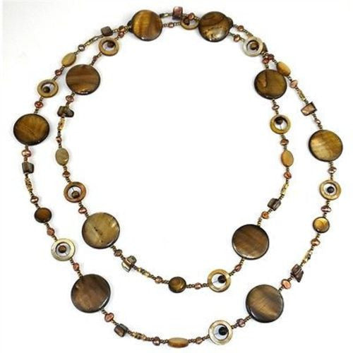 Gold Mother of Pearl Shell Bead Long Necklace Handmade and Fair Trade