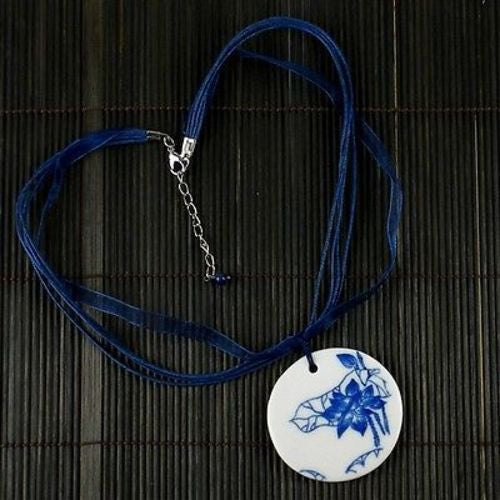 Porcelain Round Pendant on Cord and Organza Handmade and Fair Trade