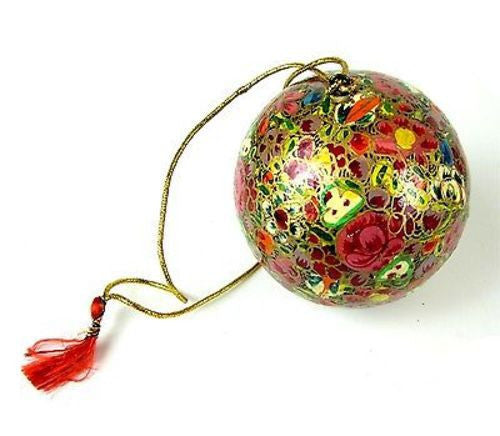 Papier Mache Ball Ornament - 2.5 inch lowers Handmade and Fair Trade