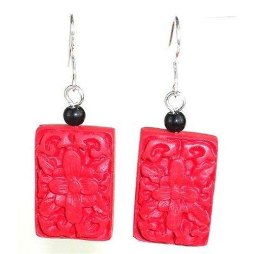 Large Carved Red Wood Bead Earrings Handmade and Fair Trade