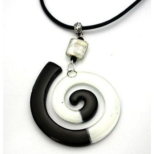 Giant Finite Swirl Glass Pendant Necklace Black White Handmade and Fair Trade