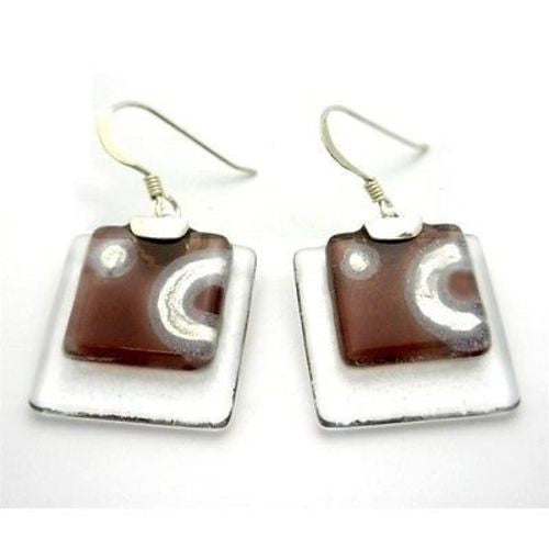Celestial Mauve Stacked Glass Squares Sterling Silver Earrings Handmade and Fair Trade