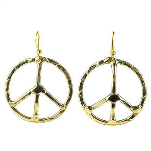 Hammered Brass Peace Sign Earrings Handmade and Fair Trade