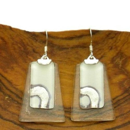 Celestial White Stacked Glass Trapezoid Sterling Silver Earrings Handmade and Fair Trade