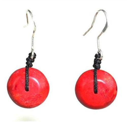 Handcarved Red Wood Pebble Earrings Handmade and Fair Trade