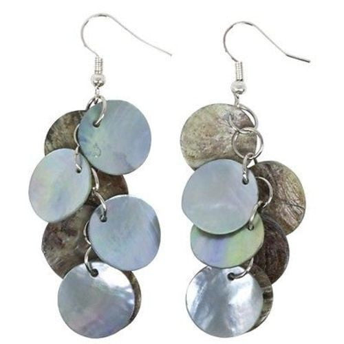 Mother of Pearl Cluster Earrings in Blue Handmade and Fair Trade