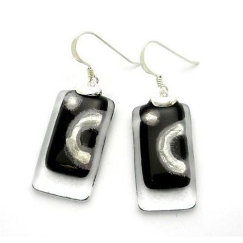 Celestial Black Stacked Glass Rectangles Sterling Silver Earrings Handmade and Fair Trade