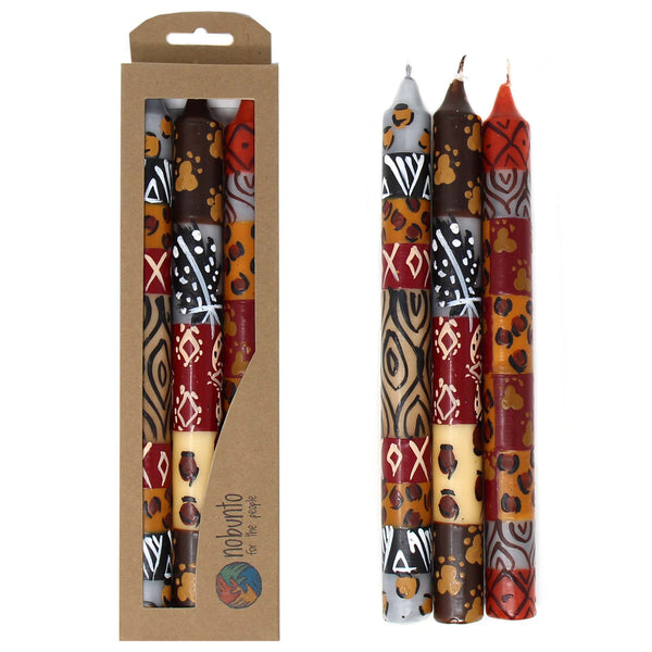 Set of Three Boxed Tall Hand-Painted Candles - Uzima Design - Nobunto