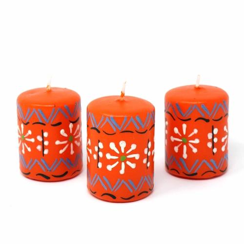 Hand Painted Candles in Orange Masika Design (box of three) - Nobunto