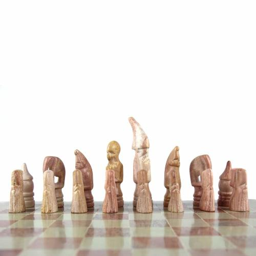 "Hand Carved Soapstone Maasai Chess Set - 14"" Board - Smolart"