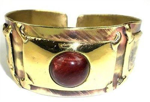 Red Tiger Eye Cuff - Brass Images (C)
