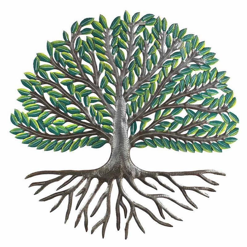 "24"" Tree of Life Wall Art with Green Painted Leaves - Croix des Bouquets"
