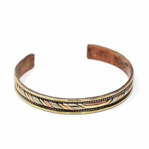 Copper and Brass Cuff Bracelet: Healing Twist - DZI (J)