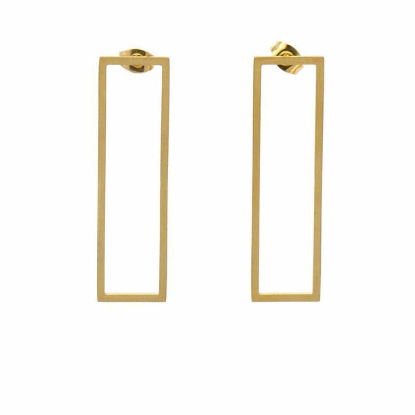 Earrings: 18k Gold Plated Stainless Steel Rectangle Studs - Starfish Project