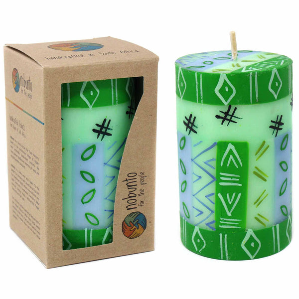 Single Boxed Hand-Painted Pillar Candle rih Design - Nobunto