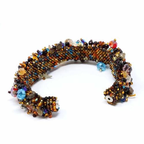Magnetic Stone Caterpillar Bracelet Earth Multi - Lucias Imports (J)