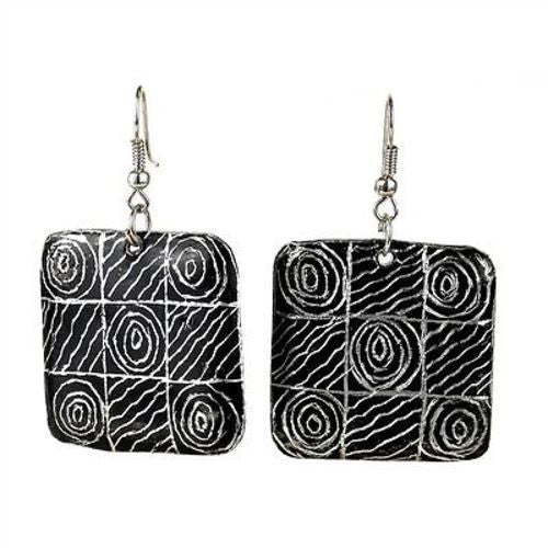 Recycled Pan African Motif Earrings Handmade and Fair Trade