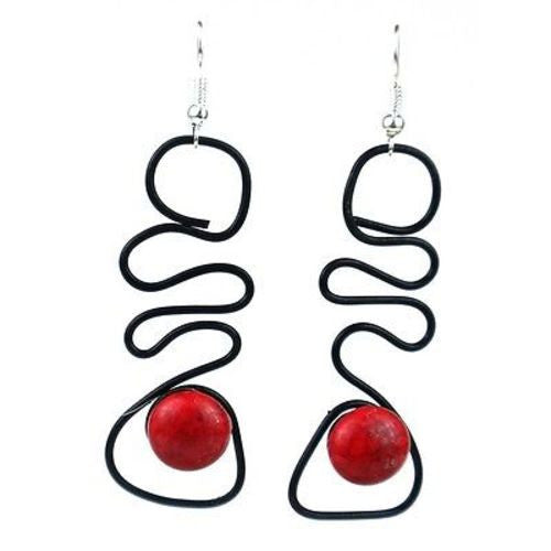 "Enameled Wire and Red Glass Bead ""Abstract"" Earrings Handmade and Fair Trade"