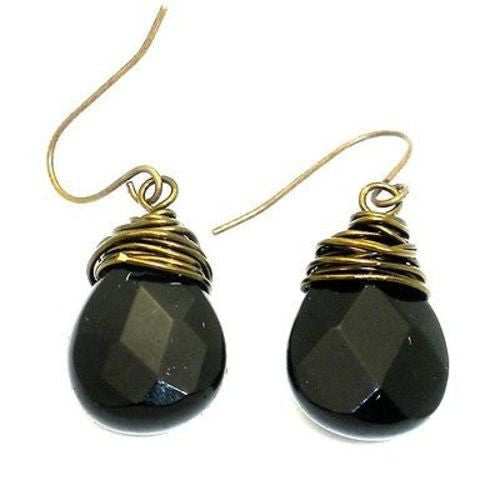 Bronze Wrapped Onyx Earrings Handmade and Fair Trade