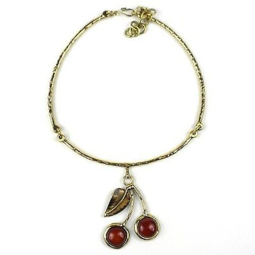 Carnelian Brass Cherry Necklace Handmade and Fair Trade