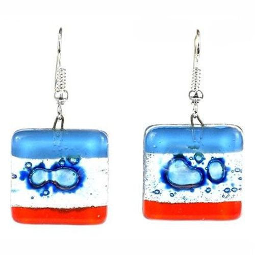 Blue Horizon Square Fused Glass Earrings Handmade and Fair Trade